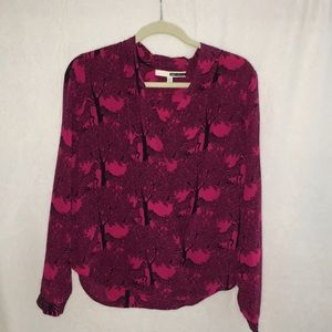 Tracy Reese pink silk zebra crossover blouse VGUC